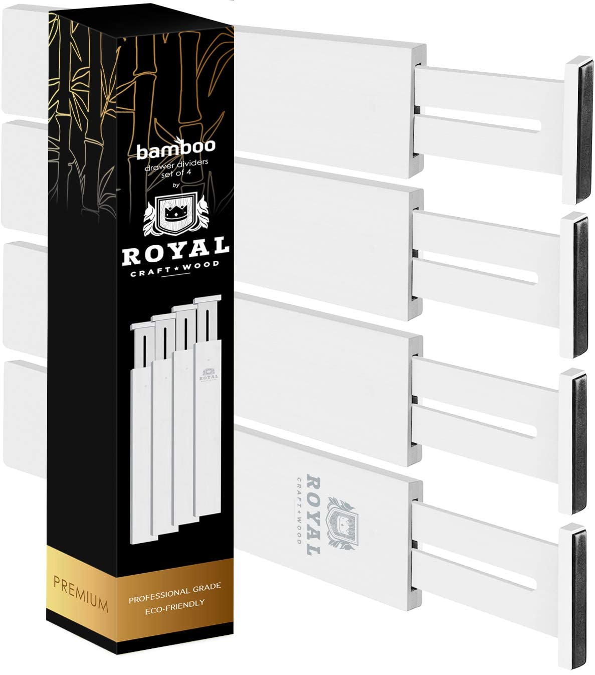 Adjustable Bamboo Drawer Dividers Organizers - Expandable Drawer Organization Separators For Kitchen, Dresser, Bedroom, Bathroom and Office, 4-Pack (13.5-16 IN, White)
