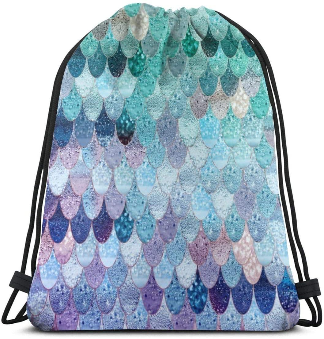 Drawstring Backpack Bag,Summer Mermaid Portable Sackpack Storage Bag for Gym Camping Yoga Swimming Shopping Hiking Camping Travel Beach