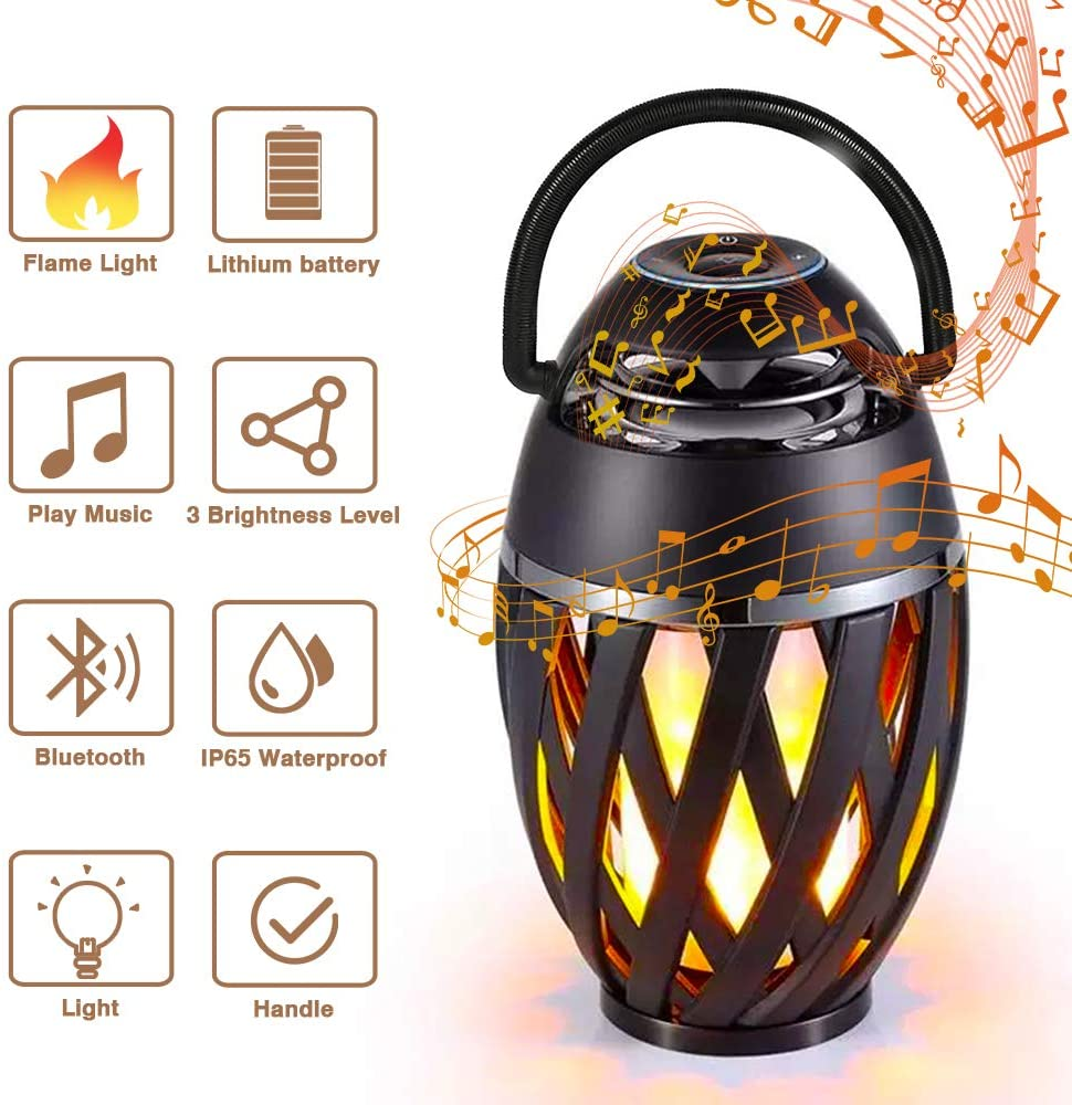 LED Flame Table Lamp, Outdoor Bluetooth Speakers Wireless Waterproof Flame Torch Atmosphere, Portable Night Light with 3 Brightness Grades and Handle, Wireless Speakers for iPhone iPad Android