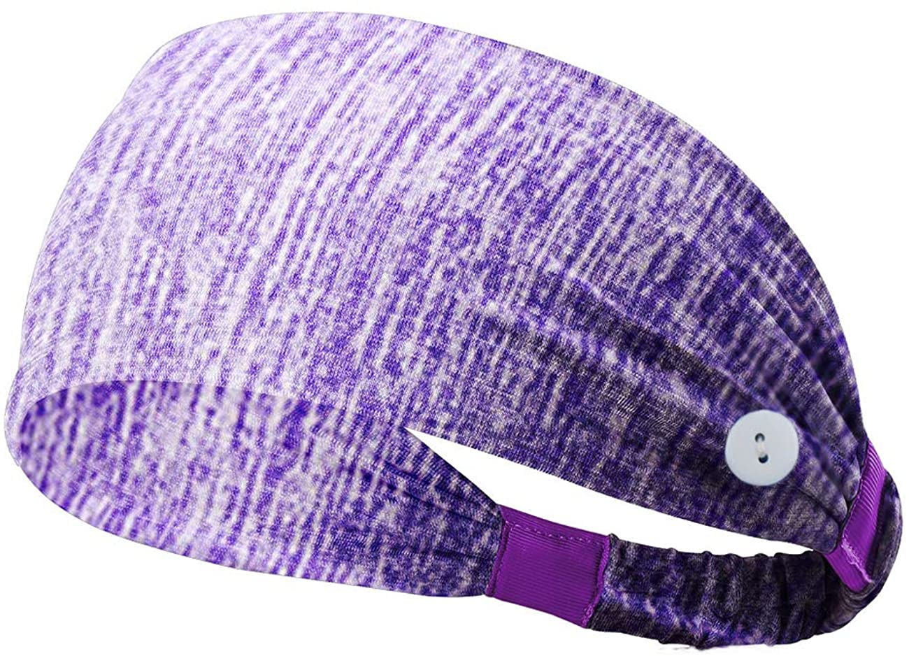 Ecosunny Button Headband for Facemask Mask Holder Headwrap for Nurses Doctors, Non Slip Sports Sweatbands Protect Ears