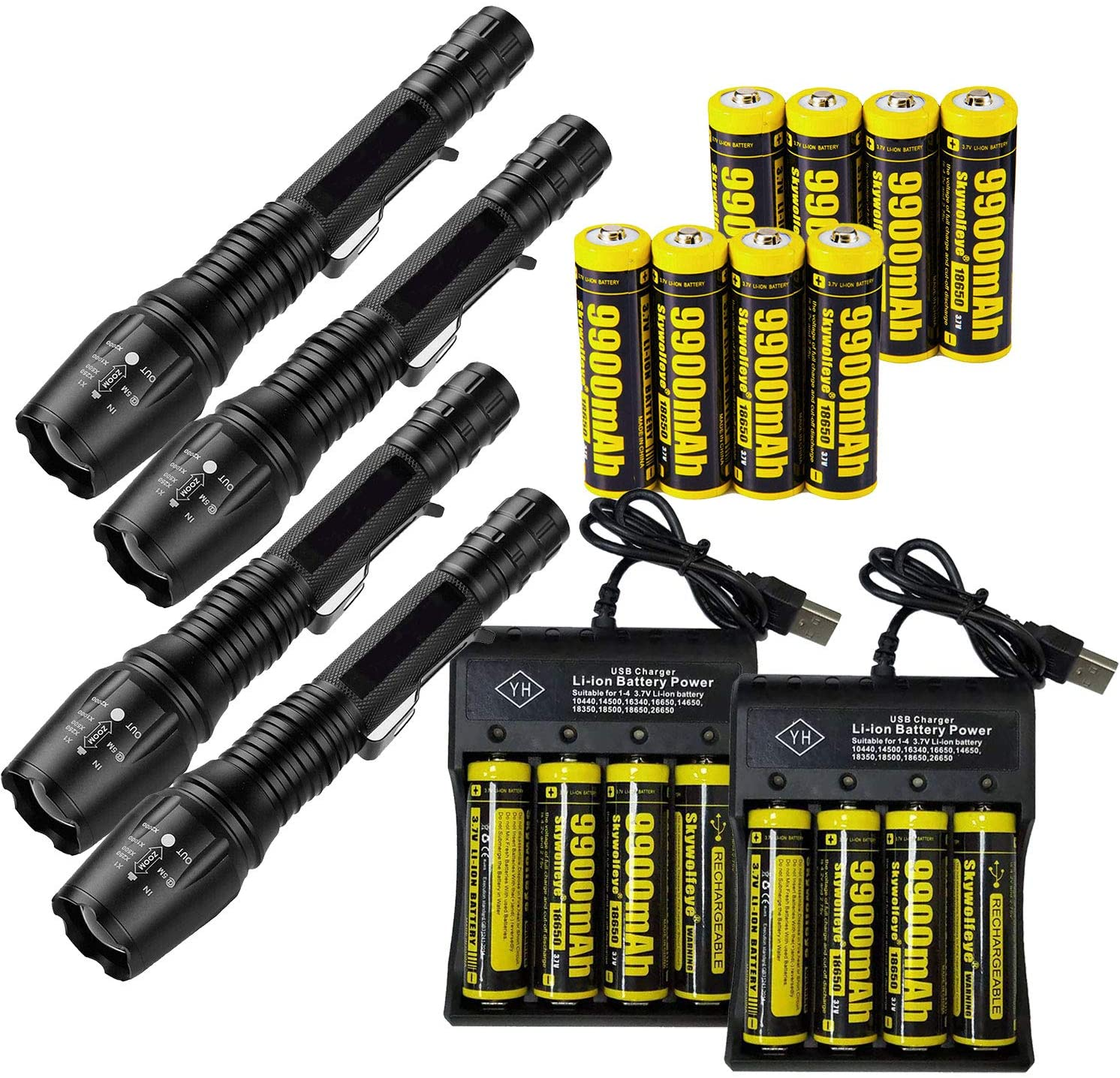 4 Set Tactical 90000LM Zoomable 5 Modes Portable LED 18650 Flashlight 9900mAh Rechargeable Batteries 4 Slots USB Universal Smart Battery Chargers for Camping Hiking Running Outdoor