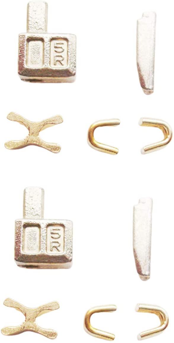 2 Sets Gold #5 Metal Zipper Bottom Stop Head Box Zipper Insertion pin,Easy for Zipper Sliders Repair,Zipper Repair Kit (#5)