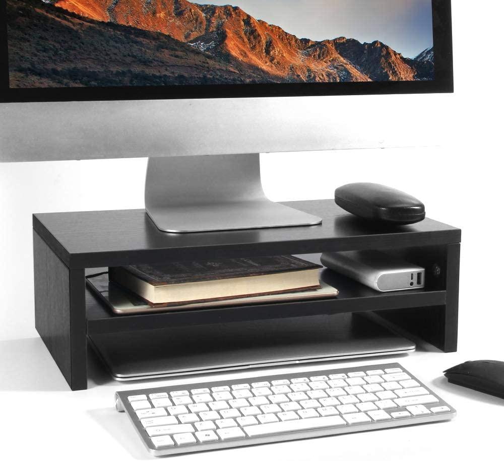 Baodan Monitor Stand Riser, Wooden Computer Desk Organizer Stand with Storage Drawer, 2-Tier Laptop Screen Printer Riser Stand TV Shelf for Printer Monitor Laptop -Black