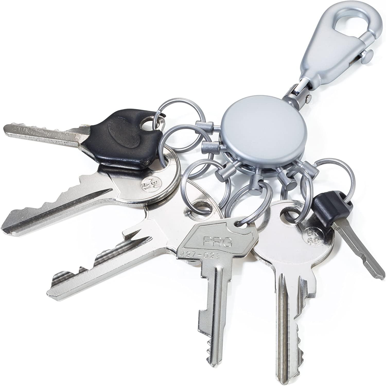 TROIKA PATENT – -TB-KYR60/MC – Keyring – incl. Carabiner – 6 exchangeable rings – metal/brass– matt – chrome plated – silver – TROIKA-original