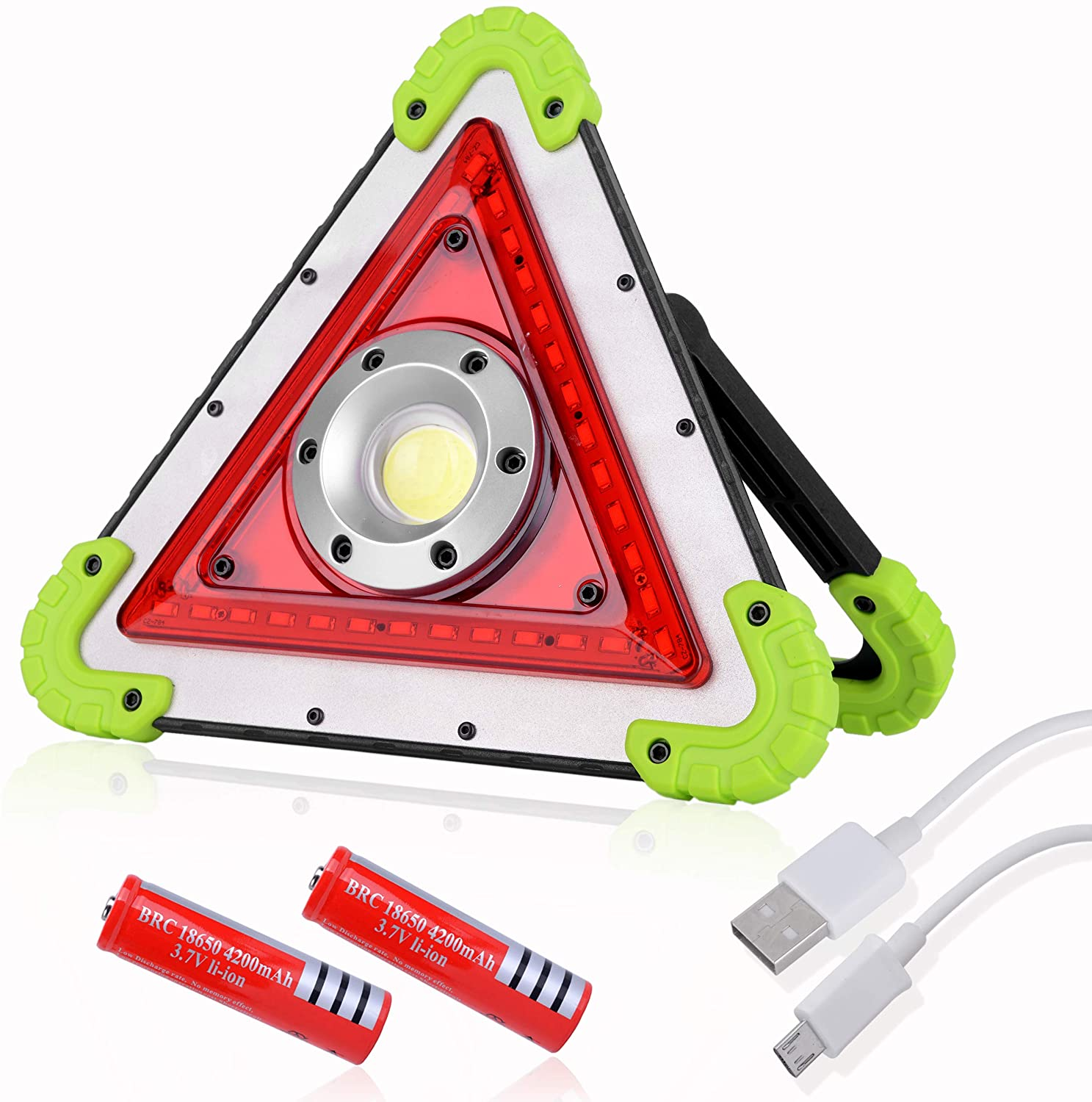 OTYTY COB 30W 2000LM COB LED Work Light, Rechargeable Portable Waterproof LED Flood Lights for Outdoor Camping Hiking Emergency Car Repairing, Job Site Lighting and Roadside Assistance (W837 Green)
