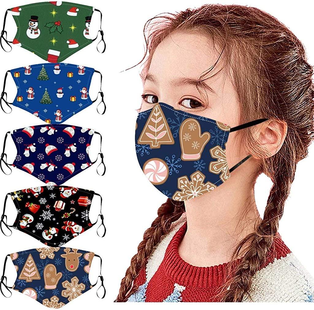 Weginte 5PCS Kids Christmas Washable Reusable Face+Bandanas Children Student Breathable School Mouth Outdoor Activities