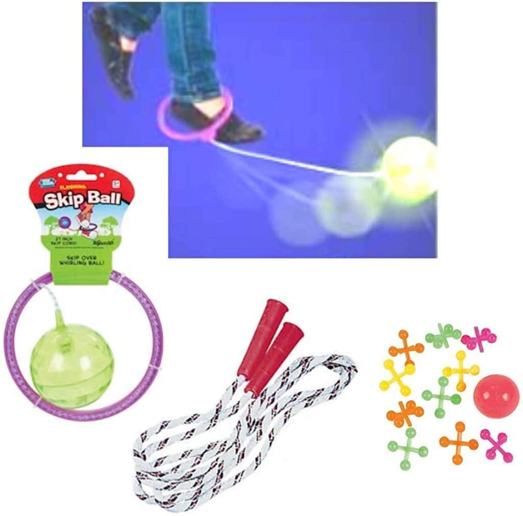 Kids Skip Ball, Jump Rope, & Jacks Bundle | Outdoor Activities (Pink)
