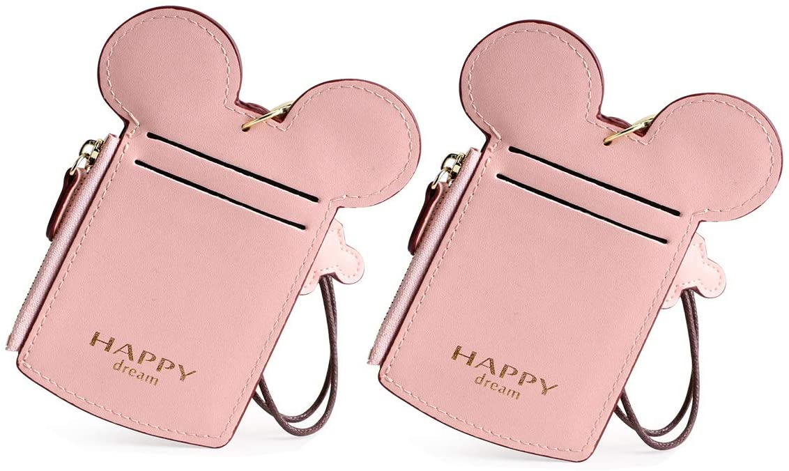 Cute Neck Pouch, DIIZBEE ID Card Holder Coin Wallet Small Travel Documents Bag, Fashion Animal Shape Purse With Lanyard for Student Women Kids Girl (Pink 2pcs)