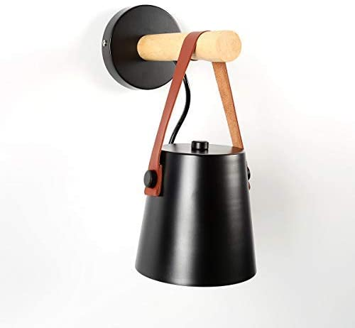 Wall Light Wood Wall Lamps Modern Nordic Style Wall Lamps Bed Bedside Light E27 85-265V White & Black Lampshade Home Decor (Black)