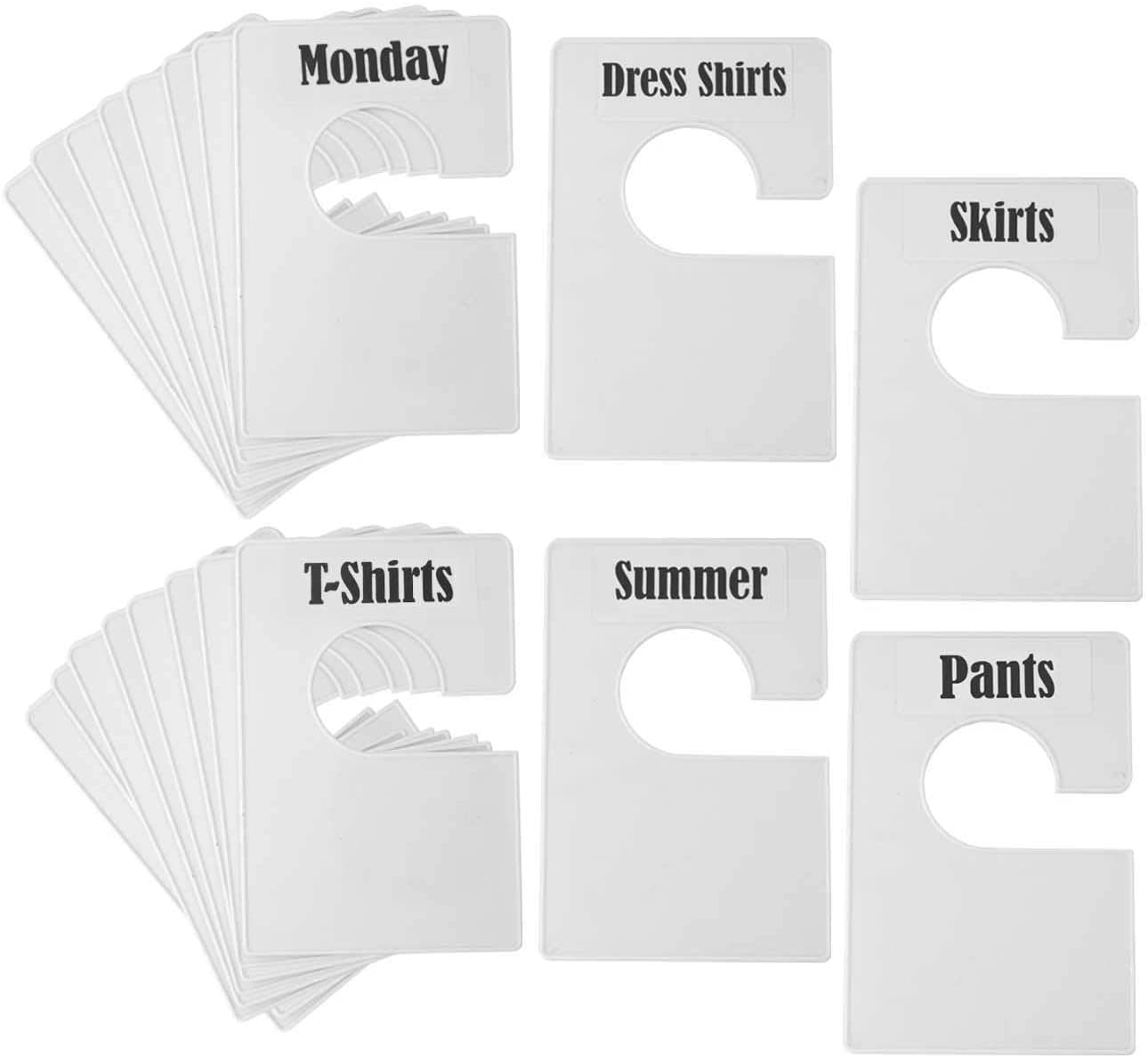 TraGoods 20 Pack White Clothing Rack Size Dividers Plus 60 Labels (1 Inch) and 40 Large Blank Labels, Large Rectangular Clothing Closet Dividers (Pearl White)
