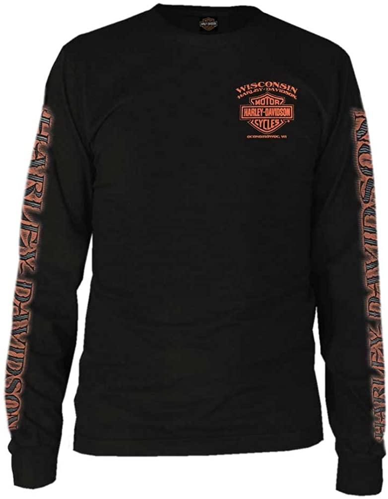 Harley-Davidson Mens Eagle Piston Long Sleeve Crew Shirt, Black 30299947