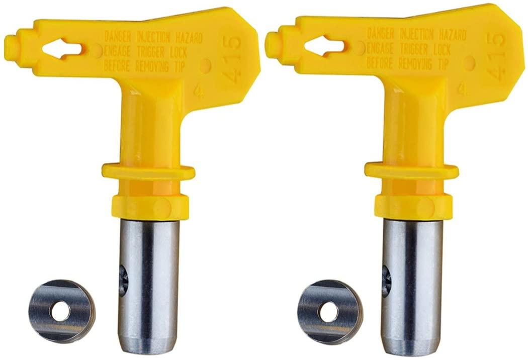 Jewboer 2 Pack Reversible Spray Tip Nozzle for Airless Paint Spray Guns and Airless Sprayer Spraying Machine (415)