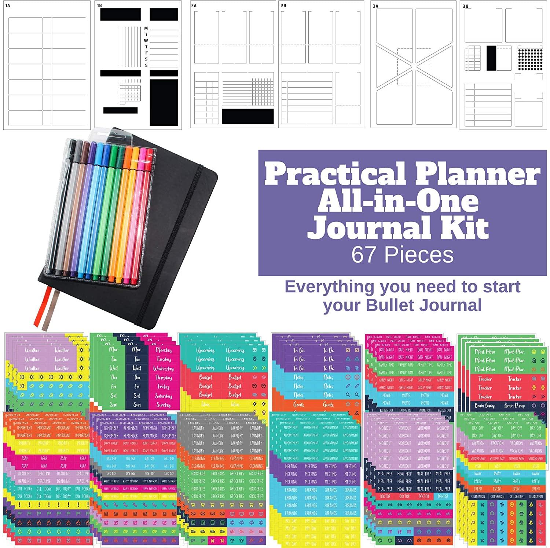 Practical Planner Bullet Dotted Journal Kit - Huge Value Set 67 Pieces, A5 Journal Hardcover Notebook, Fineliner Pens, Stencils and Planner Stickers for Bullet Journals Habit Tracker (Black)