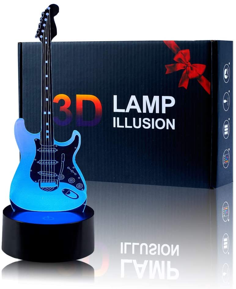 Unitake 3D Night Light Electric Guitar Modern 3D Illusion LED 7 Color Changing USB Touch Sensor Table Lamp for Children Gift