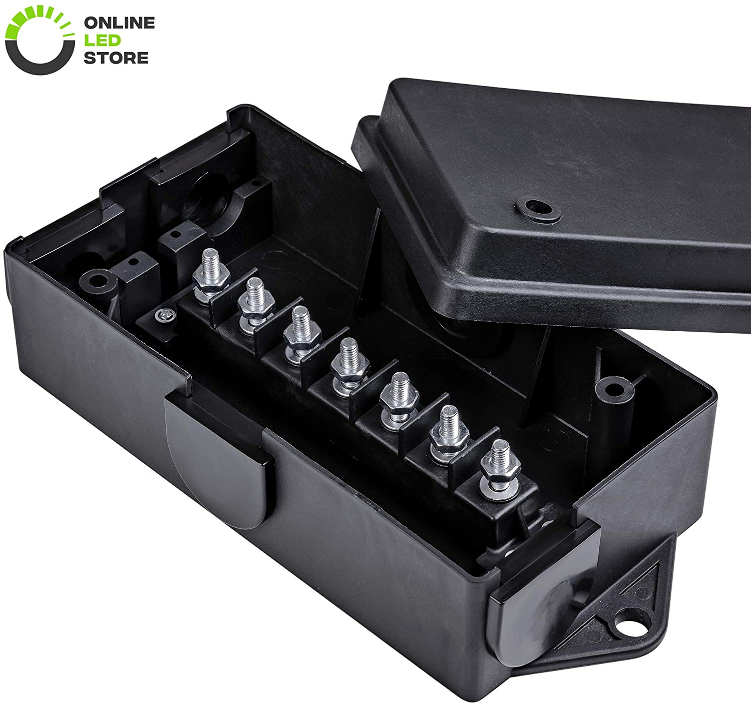 ONLINE LED STORE 7-Gang Electrical Junction Box for Trailer Wiring [Steel Studs] [Solid Build] [Waterproof] 7 Way Trailer Wire/Cable/Cord Connection Box for RV Trailer Light Camper Rewiring