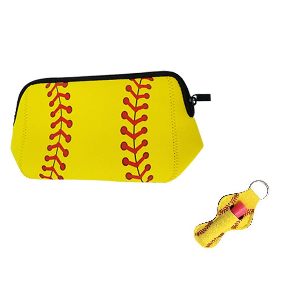 Softball Cosmetic Bag Waterproof Neoprene Zipper Travel Portable Toiletry Makeup Organizer Case With Chapstick Holder Keychain For Teen Girl Team Player Mom Coaches (Softball)