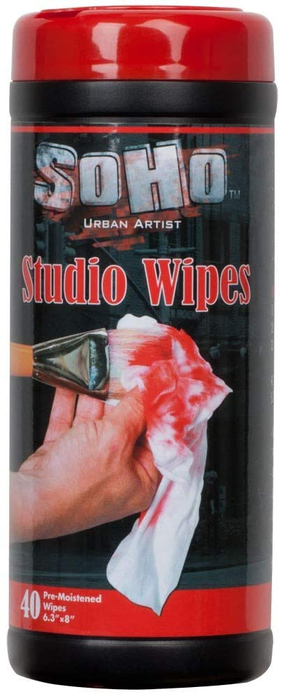 SoHo Urban Artist Paint Remover Wipes, Clean Acrylic Oil Watercolor Paint & Other Art Mediums Off Brushes, Hands, Palette, and Floors -40 Pre-moistened Wipes
