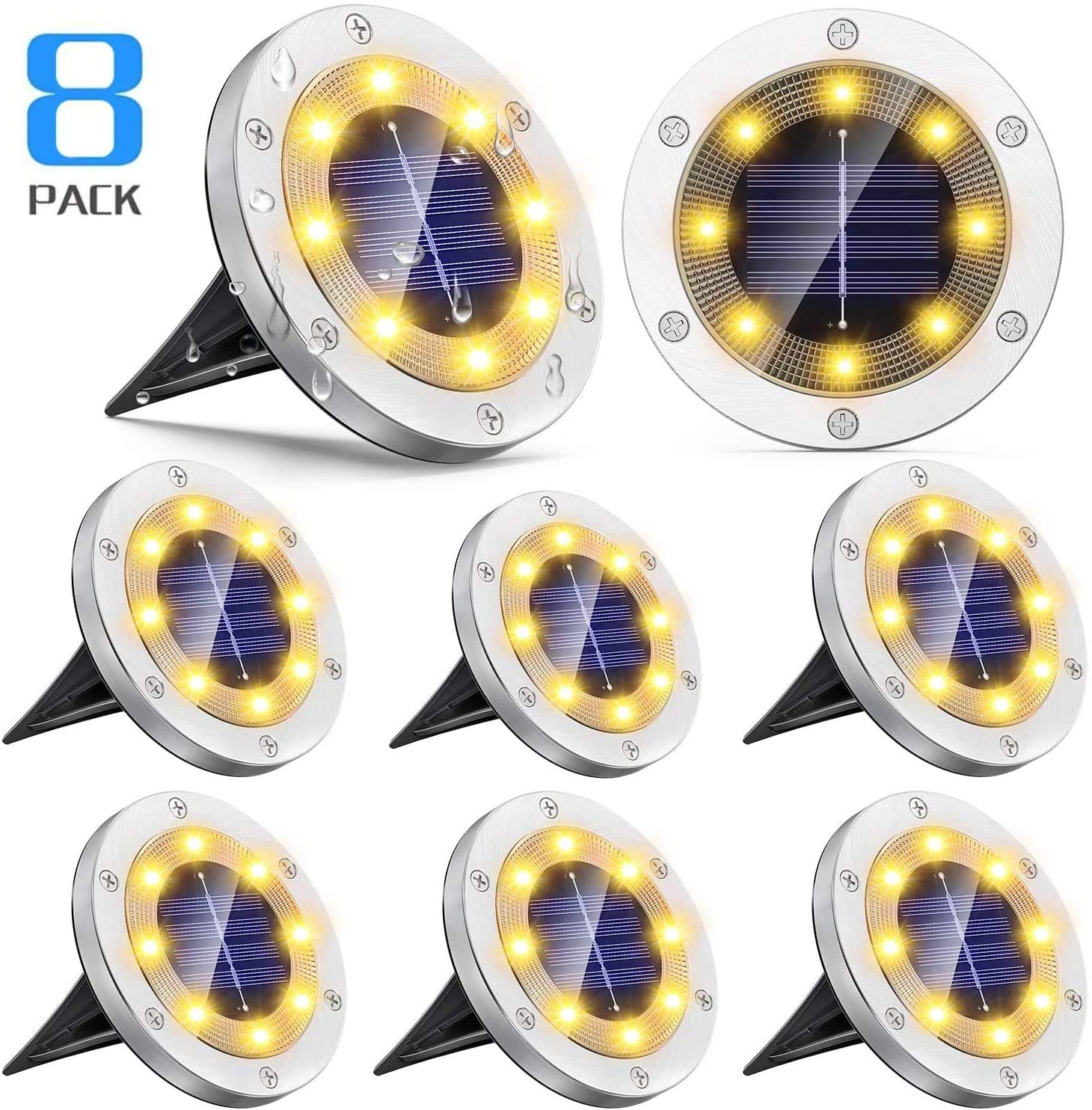 Solar Ground Lights Outdoor 8 Pack, Vosaro 8 LED Solar Garden Lights Waterproof, Upgraded Solar Powered Disk Lights, Landscape Lighting for Lawn Pathway Driveway Garden Yard Patio, Warm White