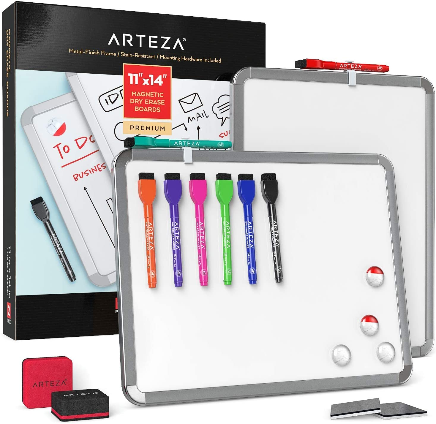 Arteza Framed Magnetic Whiteboard Set, 11x14 inches, 2-Pack Dry Erase Lap Boards with Markers & Magnets for School, Home, Office, Planning, Brainstorming, Projects