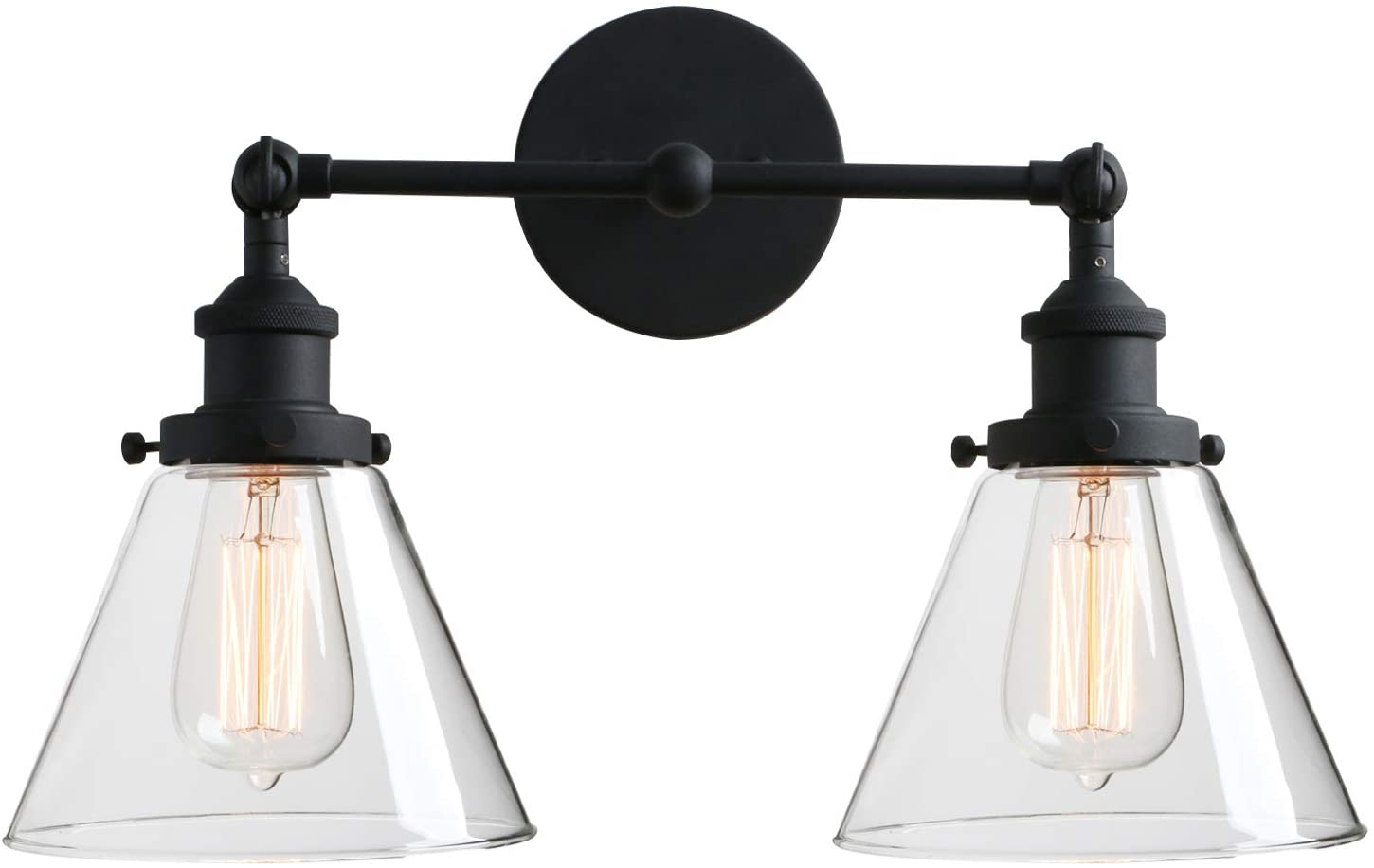 Phansthy 2-Light Industrial Wall Light Antique Sconce Light Fixture with 7.3 Inches Clear Glass Flared Shade (2-Light Clear)