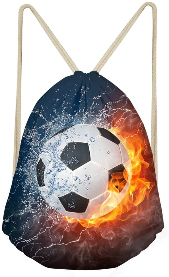 Simasoo Ice And Fire Soccer Drawstring Backpack for Boys Girls School Fashion Shoulder Bag