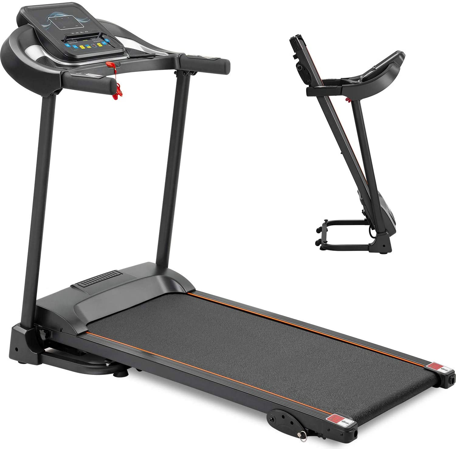 Electric Folding Treadmill Easy Assembly Compact Fitness Motorized Running Jogging Exercise Machine, 3 Incline Adjustment 12 Preset Programs LED Display Heart Rate Monitor, Phone & Water Bottle Holder