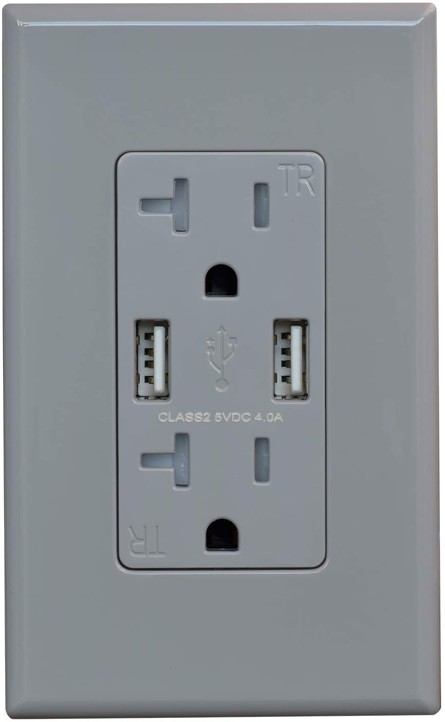 (1 Pack, Glossy Gray) ELEGRP USB Outlet Wall Charger, Dual High Speed 4.0 Amp USB Ports with Smart Chip, 20 Amp Duplex Tamper Resistant Receptacle Plug NEMA 5-20R, Wall Plate Included, UL Listed