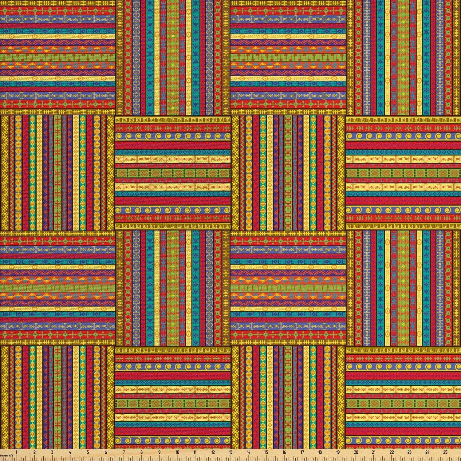 Ambesonne African Fabric by The Yard, Borders Pattern Old Fashioned Culture Theme Colorful Print, Decorative Fabric for Upholstery and Home Accents, 3 Yards, Yellow Red