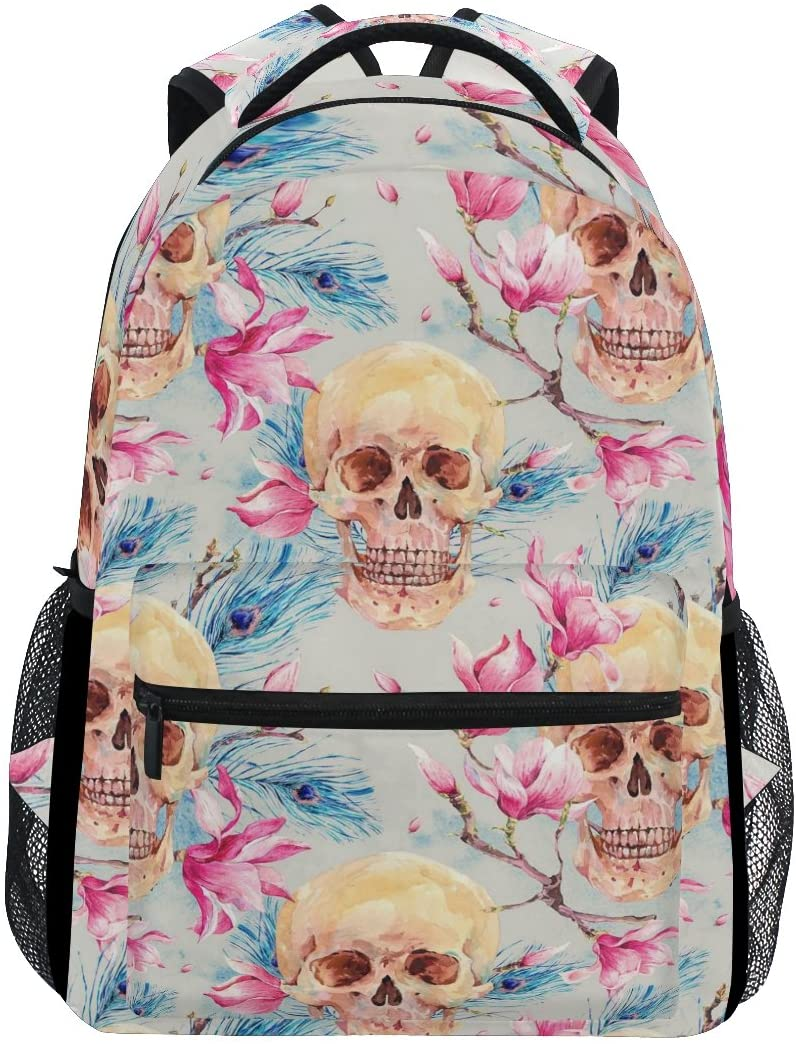WXLIFE Sugar Skull Flower Feather Backpack Travel School Shoulder Bag for Kids Boys Girls Women Men