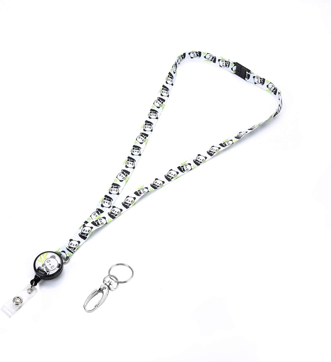 Grekywin Cute Panda Design Lanyard Name Tag Badge Holder with Retractable Badge Reel Card Holder with Removable Buckle