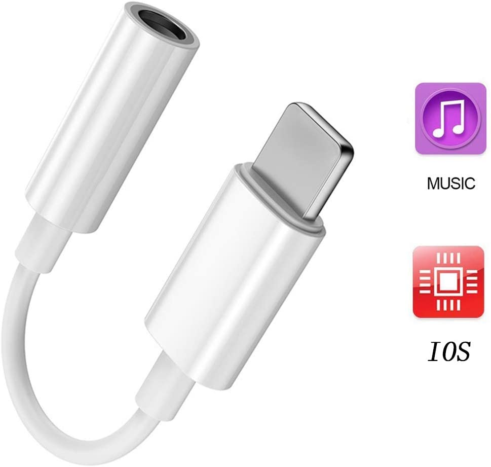 3.5 mm Headphone Jack Adapter, Headset AUX Audio Adapter Music Splitter Cable Accessories Compatible with iPhone 11 Pro Max/11 Pro/11/XS Max/XS/XR/X/8 Plus/8/7 Plus/7