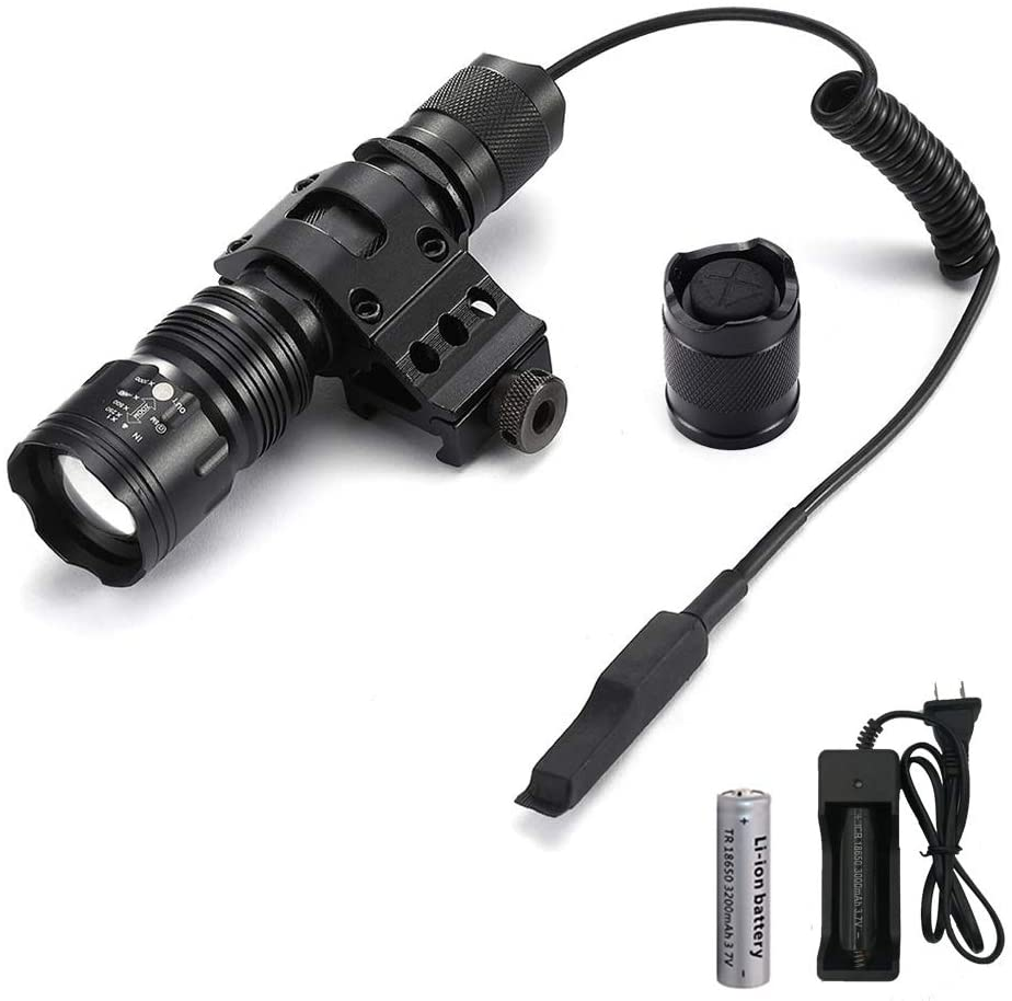 PROFORUS Tactical Flashlight with Offset Picatinny Rail Mount, 1200 Lumens Matte Black Hunting Flashlights Zoomable 5 Modes Small Flashlight for Rifle with Rechargeable Batteries and Pressure Switch