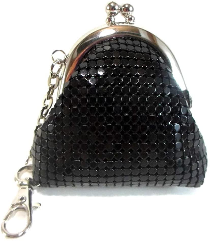 Women Mini Coin Purse Metal Mesh Kiss Lock Clasp Buckle Wallet Pouch (Black)