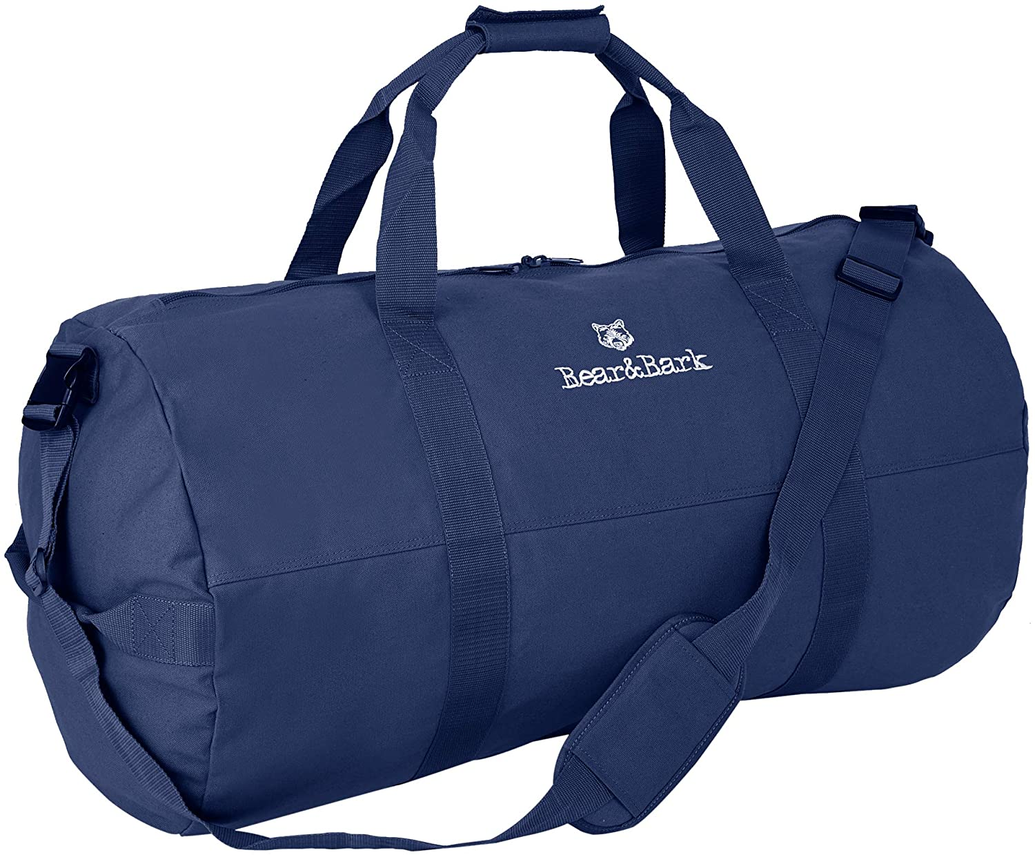 """Large Duffle Bag – Blue 38""""x20"""" - Canvas Military and Army Cargo Style Duffel Tote for Men and Women– College Student, Backpacking, Travel and Storage Shoulder Bag"""