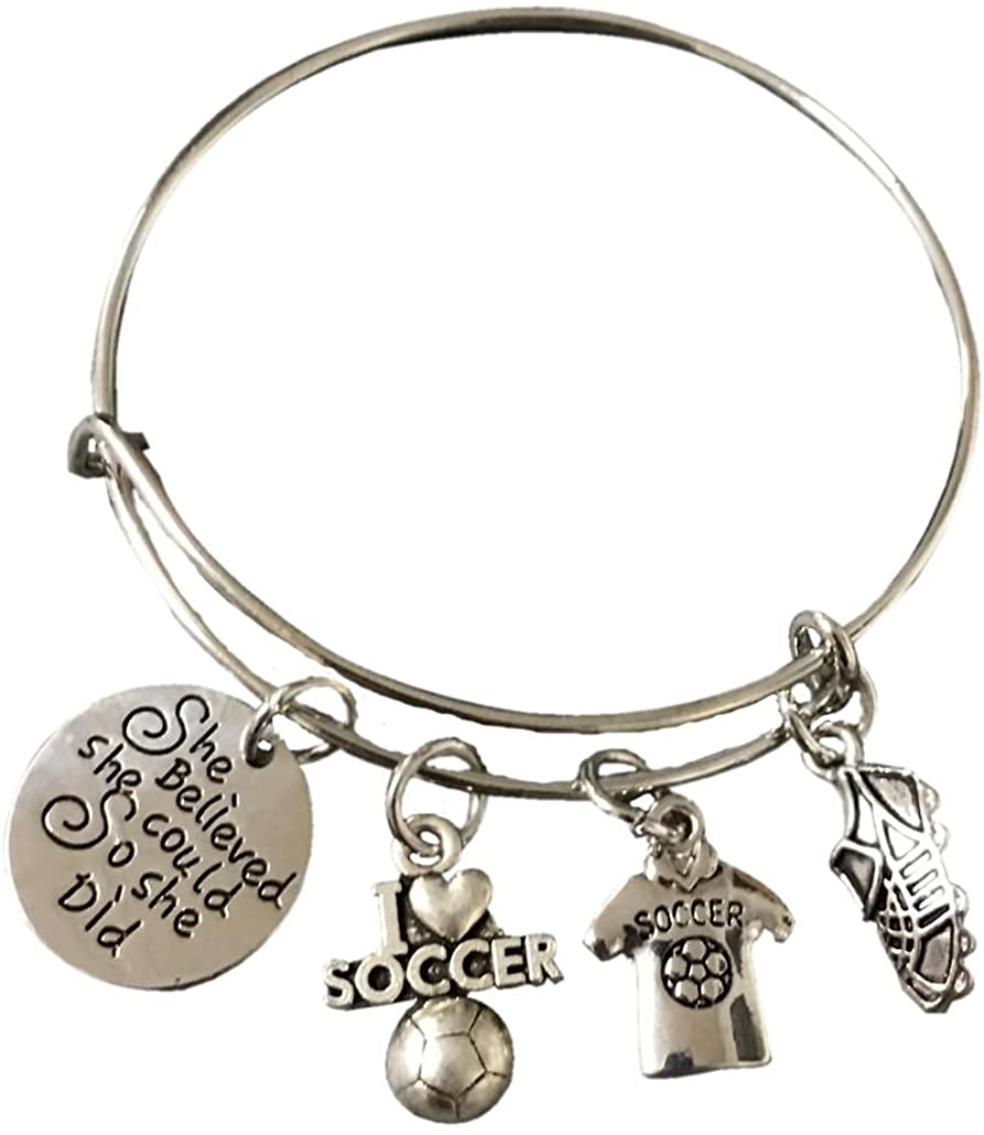 Infinity Collection Soccer Bracelet, Soccer Jewelry, Adjustable Soccer Bracelet- Soccer Charm Bracelet- She Believed She Could- Perfect Soccer Gifts for Soccer Players