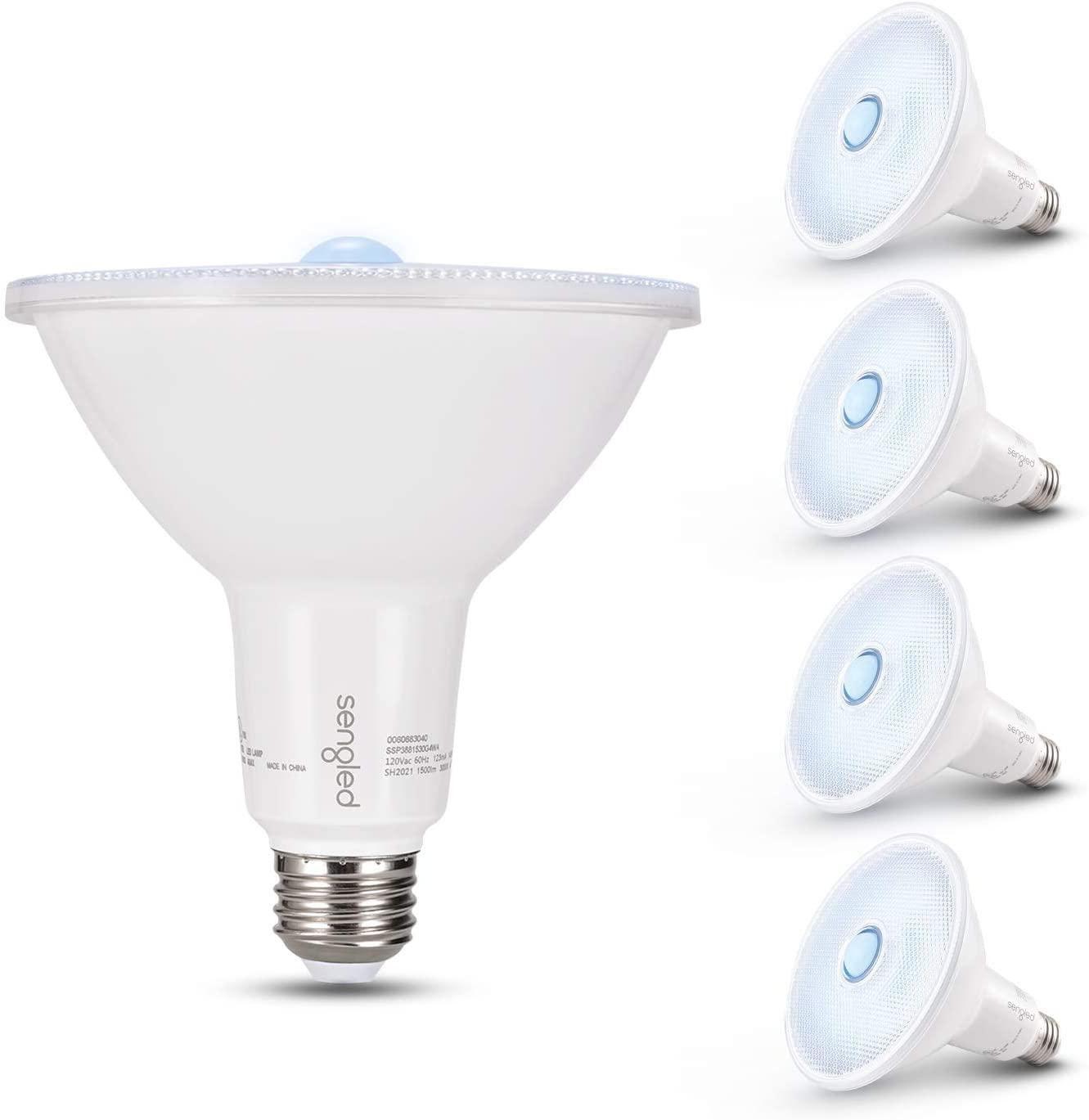 Sengled Motion Sensor Light Outdoor, Dusk to Dawn LED Outdoor Lighting, Security Flood Light PAR38 Photocell Motion Sensor, Waterproof, 5000K 1500LM, 4 Pack