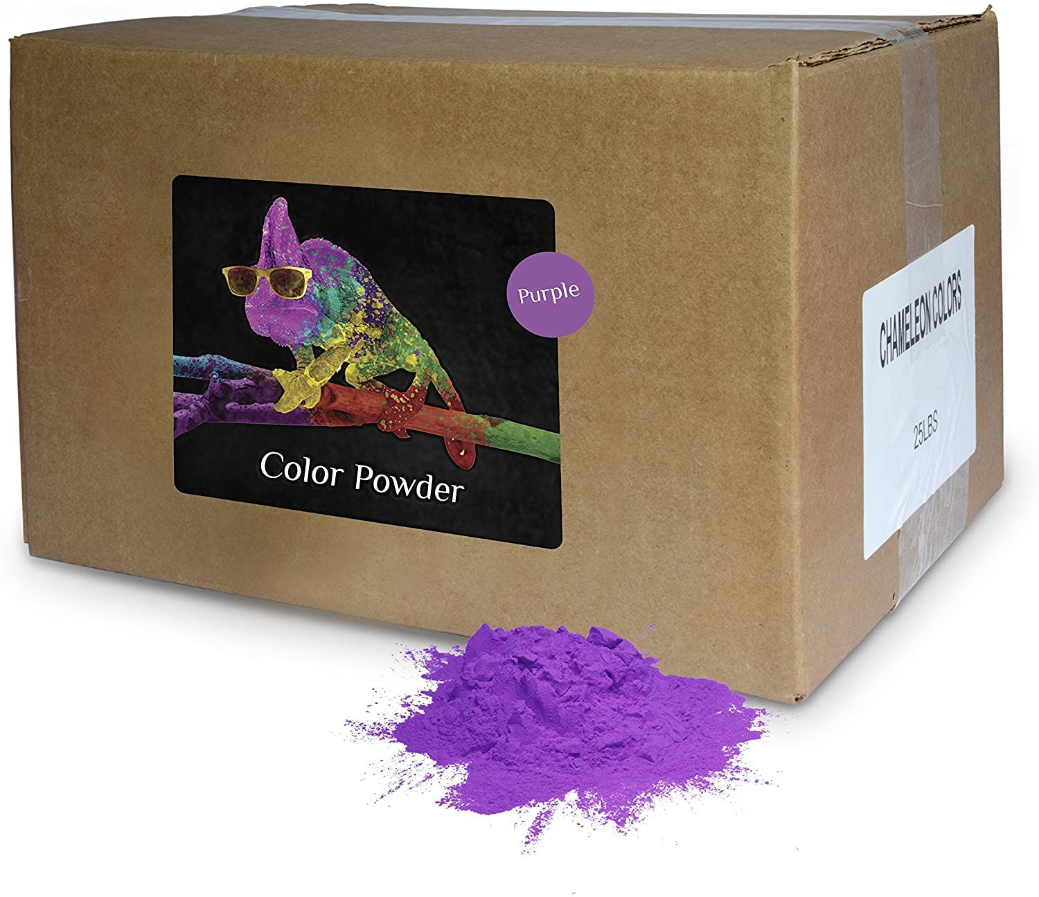 Holi Powder Bulk by Chameleon Colors - Purple - 25 lbs. Pure, Authentic Fun - Perfect for a Color Races, 5k, Festival, Party or Any Other Event You Want to Make Colorful.