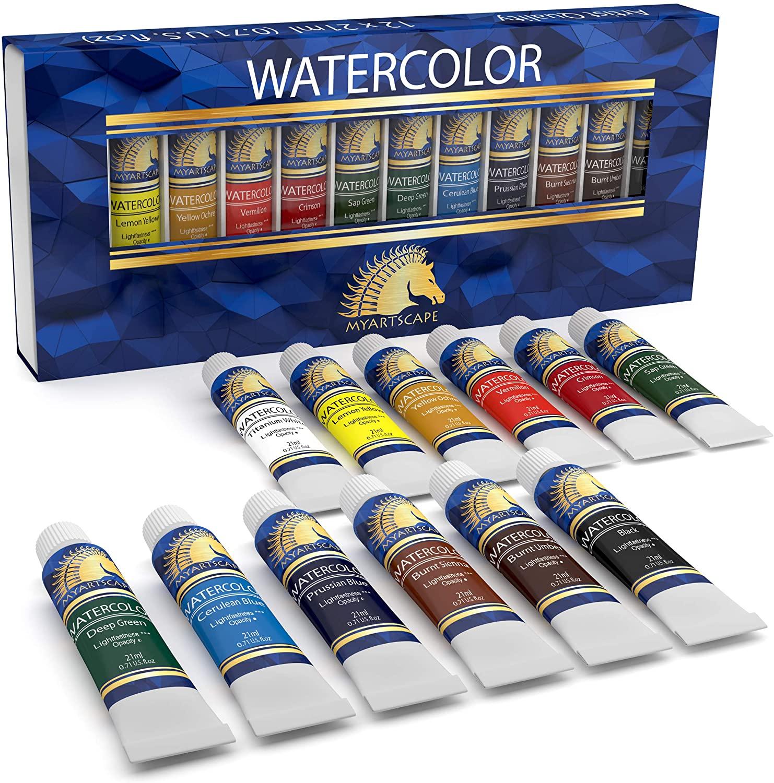 Watercolor Paint Set - Artist Quality Paints - 12 x 21ml Vibrant Colors - Rich Pigments - Professional Supplies by MyArtscape™