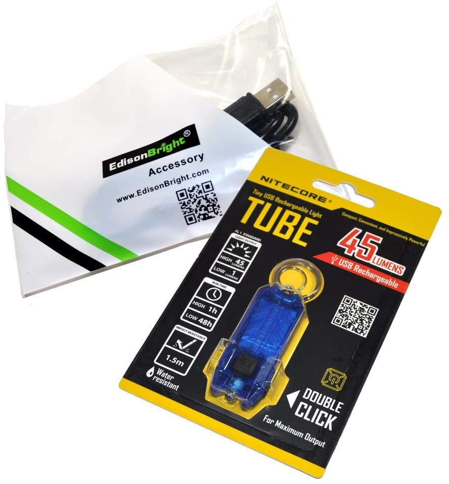 Nitecore Tube (Blue) 45 Lumen USB Rechargeable Keychain Light and EdisonBright Brand USB Charging Cable Product Bundle