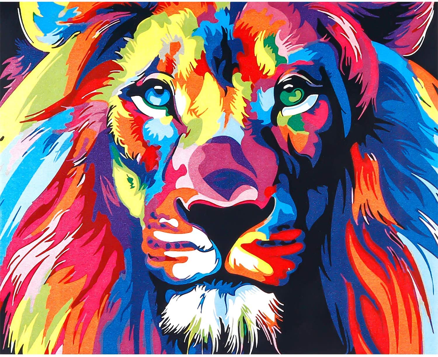 DIY Oil Painting,Tinabless Paintworks Paint by Number for Kids and Adults - Colorful Lion 16x20 Inch
