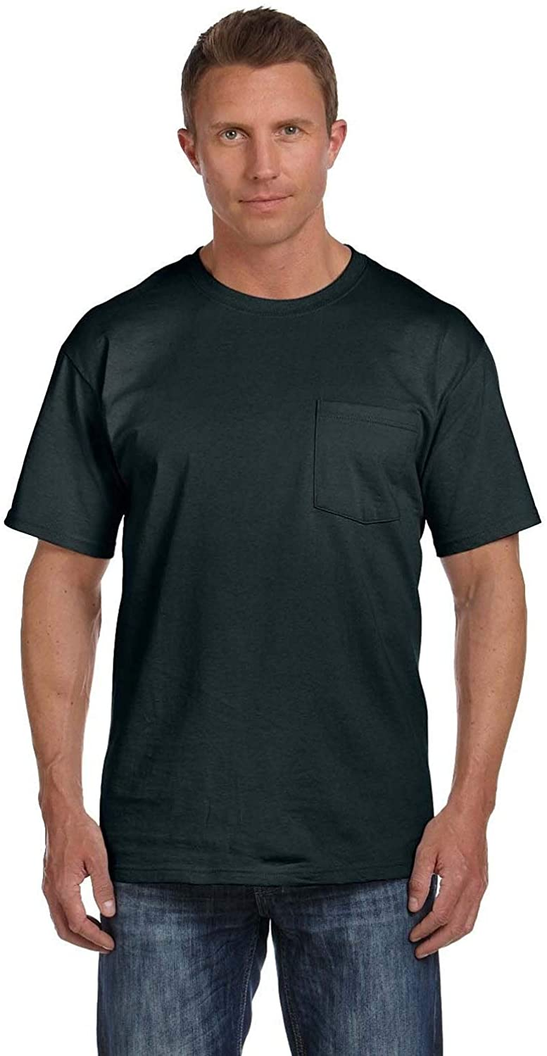 Fruit of the Loom Men's Black Heavy Cotton HD Pocket Undershirts (Pack of 9) M
