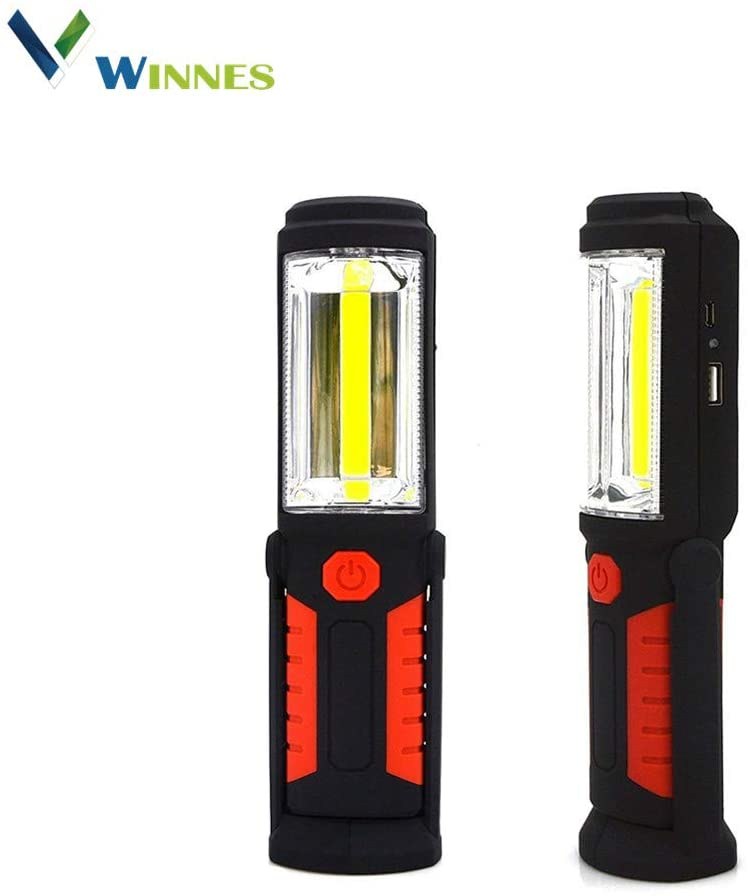 Winnes New Portable USB Rechargeable COB LED Flashlight Torch Work Light Magnetic Stand Hanging Lamp For Outdoor Camping (Red)