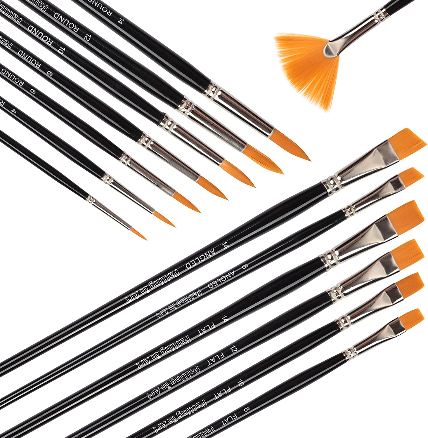 Falling in Art Long Handle Golden Art Brushes for Painting, 14 PCS Nylon Paint Brushes Set with Fan, Angled, Flat and Round Head for Acrylic, Oil or Watercolor