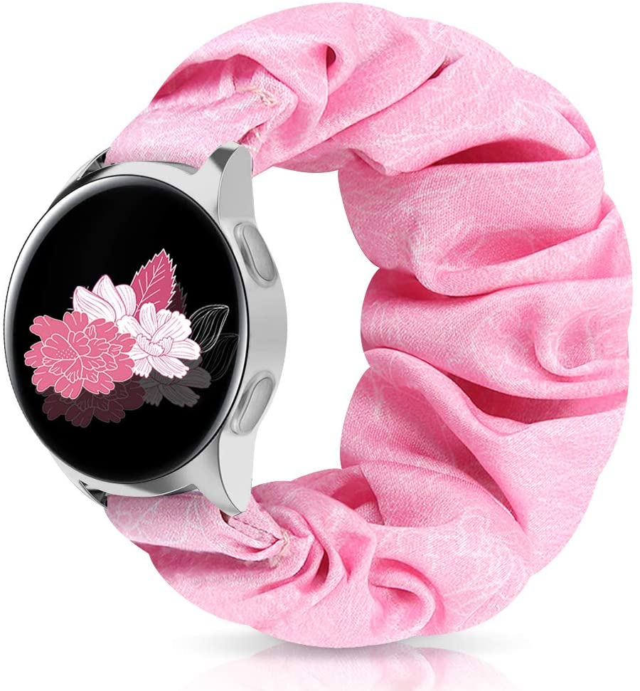 22mm Scrunchie Watch Band for Galaxy 46mm/Gear S3 Frontier/Classic, Floral Replacement Strap Compatible for Asus/Fossil Gen 5/Men's/Women Gen 4