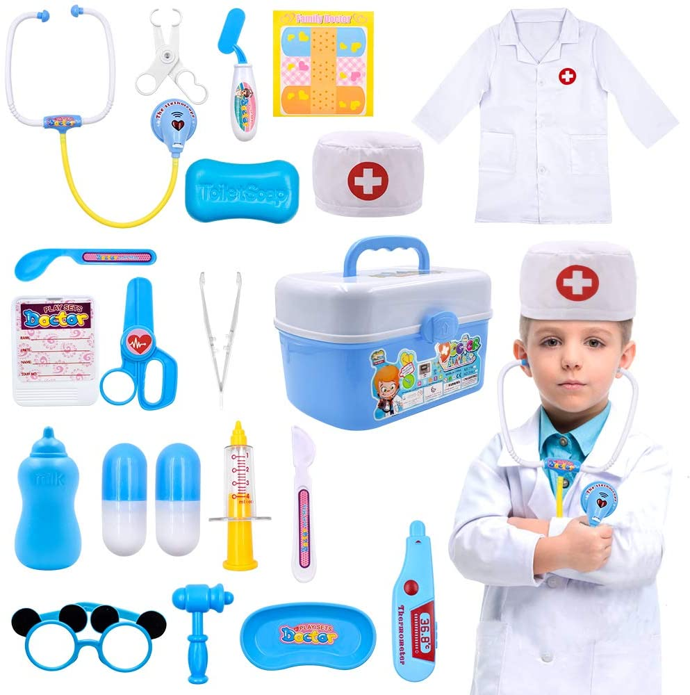 Acelane Kids Doctor Kit Pretend Play Medical Toys Set Doctor Roleplay Costume Stethoscope Carry Case Educational Creative STEM Family Games Birthday Kids Boys Girls 3+ Years Old