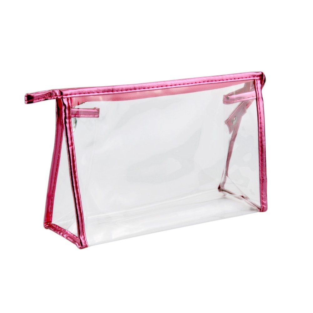 Happy Will Clear Transparent Waterproof Plastic PVC Travel Cosmetic Bag Makeup Bag Organizer Pouches Bag Tote Bag for Women Girls (Hot Pink)