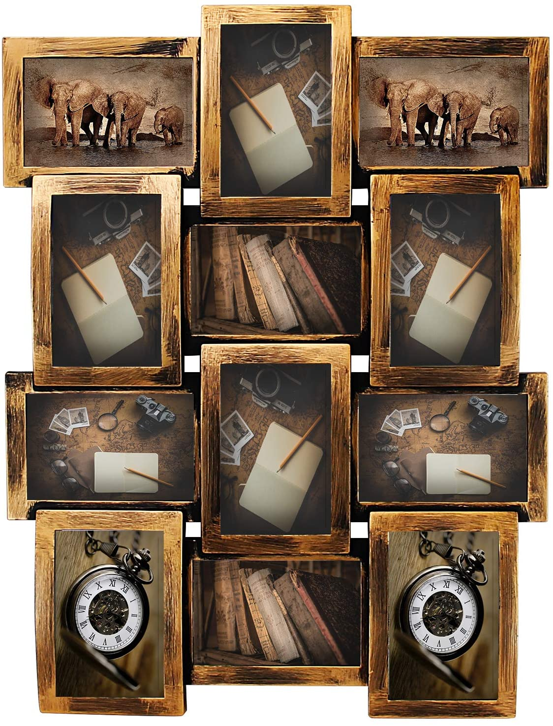 Jerry & Maggie - Photo Frame 23X18 Retro Bronze Finish PVC Picture Frame Selfie Gallery Collage Wall Hanging for 6x4 Photo - 12 Photo Sockets - Classic Loyalty Style - Wall Mounting Design