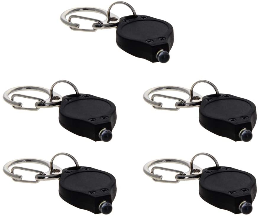 Othmro Plastic LED Keychain Light Black White Light with C Buckle Black Flashlight Type of Battery Cr2016(WITHOUT BATTERY) 5pcs
