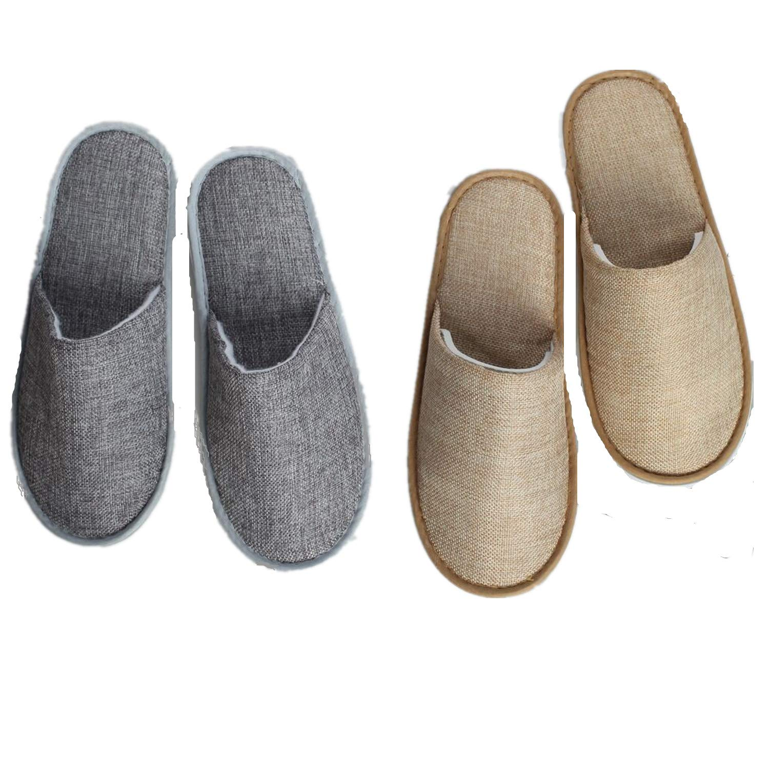 6 Pair of Spa Slippers,Linen Casual Slippers, Closed Toe Spa Slippers for Men and Women,Non-Slip Slippers for Hotel, Home, Guest Use (3 pairs yellow + 3 pairs gray)