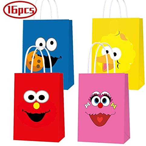 16 PCS Party Gift Bags for Sesame Street Party Supplies, Birthday Party Gift Goody Treat Candy Bags, Including 4 Patterns for Kids Birthday Party Decorations